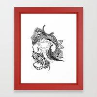 Inking Elephant Framed Art Print