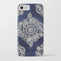 home iPhone & iPod Cases featuring Cream Floral Moroccan Pattern on Deep Indigo Ink by micklyn