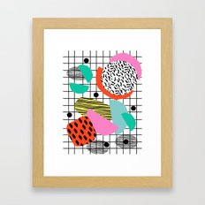 Posse - 1980's style throwback retro neon grid pattern shapes 80's memphis design neon pop art Framed Art Print