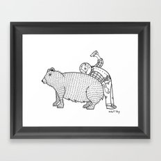 The Known Practice of using Domesticated Bears as cushions while drinking.  Framed Art Print