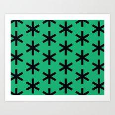 Vondel Black on Green Pattern Art Print