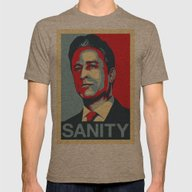 Jon Stewart - SANITY Mens Fitted Tee Tri-Coffee SMALL