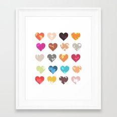 Colorful love pattern  Framed Art Print