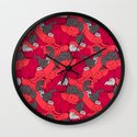 Purrrfect Pattern (Red) Wall Clock