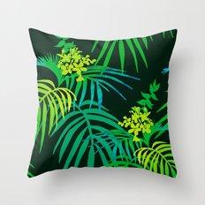 Dark Green Tropical Throw Pillow
