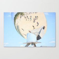 Reflections of unidentified tourists from all over the world in the spherical mirror Canvas Print