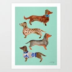Dachshunds on Blue Art Print