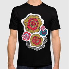 Flowers in Sand Mens Fitted Tee Black SMALL