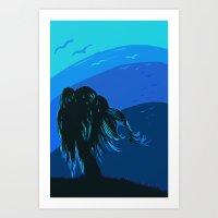 The tree blows at night Art Print