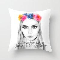 Cara's Flowers Throw Pillow