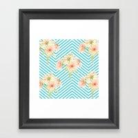 Flowers and Stripes Framed Art Print