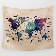 Oceans Life World Map  Wall Tapestry