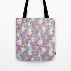 Cameo & Trailing Hair // Pink & Blue Pastels Tote Bag