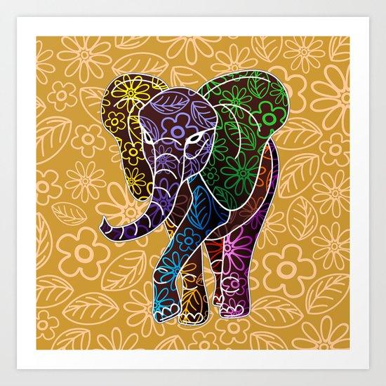 Elephant Floral Batik Art Design Art Print By BluedarkArt