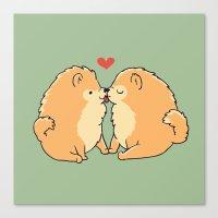 Pomeranian Kisses Canvas Print