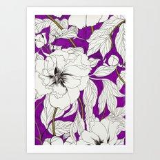 Purple Peonies Art Print