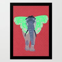 Elephant Butterfly Art Print
