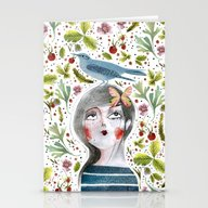 Stationery Cards featuring WILD STRAWBERRIES by Jane Newland
