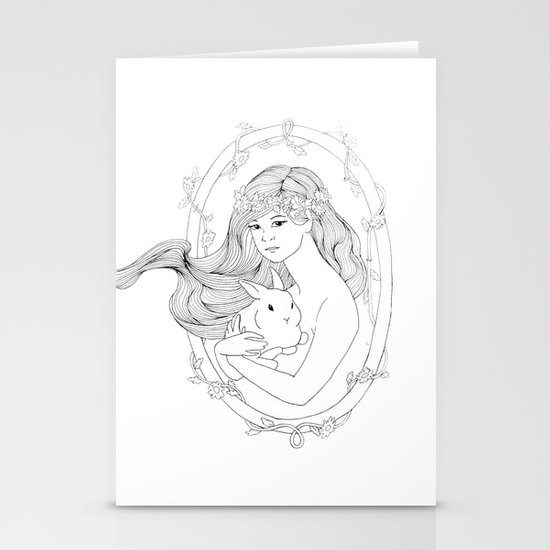 Rabbit Heart-Line Drawing Stationery Card