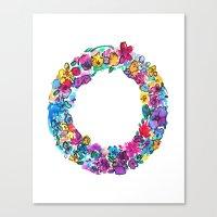 O Letter Floral Canvas Print