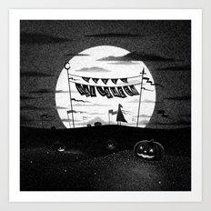 Drawlloween 2015: Happy Halloween (Black & White) Art Print