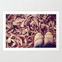 yellow shoes, fall leaves Art Print
