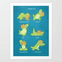T-Rex Tries Yoga Art Print