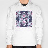 Pastel Folk Art Pattern in soft navy, pink, mauve & white Hoody