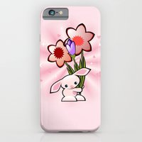 iPhone & iPod Case featuring Little Pink Bunny With Flowers by Ruxique