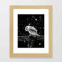 Snowfall at Night (Owl) Framed Art Print