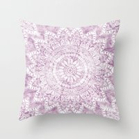 BOHEMIAN FLOWER MANDALA IN PINK Throw Pillow