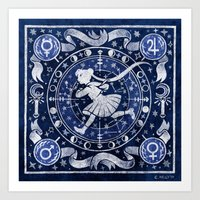 Moon Star Chart Art Print