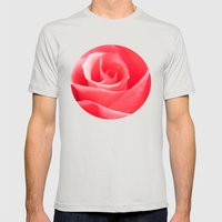 Pink Rose Mens Fitted Tee Silver SMALL