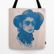 Woman in Hat and Sunglasses Tote Bag