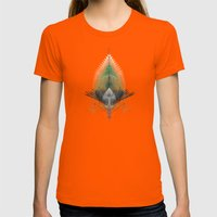 The Feathered Tribe Abstract / I Womens Fitted Tee Orange SMALL