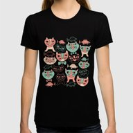 Funny Cats Womens Fitted Tee Black SMALL