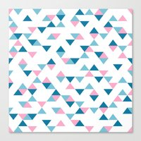 Triangles Blue and Pink Canvas Print