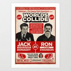 Jack Donaghy vs. Ron Swanson Fight Poster Art Print