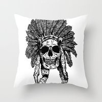 Chief Skull Throw Pillow