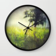 Wall Clock featuring Connie's Backyard by The Last Sparrow