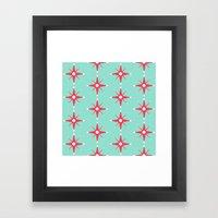 Retro Red Stars Framed Art Print