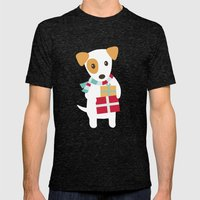 Cute Christmas Dog Holdi… Mens Fitted Tee Tri-Black SMALL