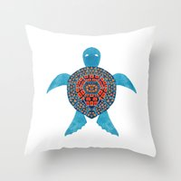 The Tribal Sea Turtle Throw Pillow