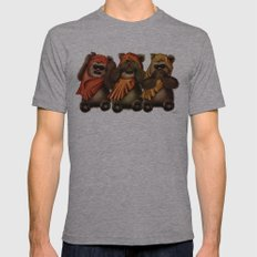 STAR WARS The Three Wise Ewoks Mens Fitted Tee Athletic Grey SMALL
