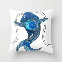 Tatoo Koi Fish Throw Pillow