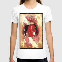 Red Cherry Lips Womens Fitted Tee White SMALL