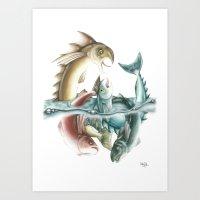 INKYFISH - Fish Frenzy Art Print