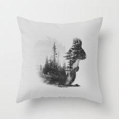 Squirrel (black & white version) Throw Pillow