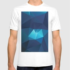 Geometric Blue White Mens Fitted Tee SMALL