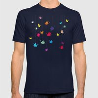 Origami Cranes Mens Fitted Tee Navy SMALL